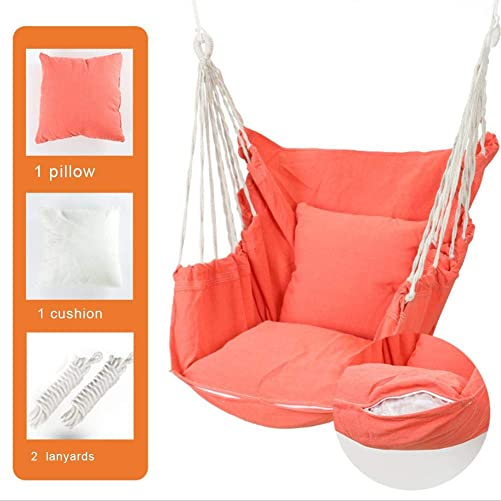 N Z Hanging Rope Hammock Chair Swing Seat for Yard, Bedroom, Patio, Porch, Any Indoor Or Outdoor – with Pillow Thickened Cushion Superior Comfort Durability Perfect