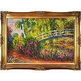 overstockArt The Japanese Bridge Framed Oil Reproducción de una pintura original de Claude Monet, marco de oro victoriano, acabado dorado