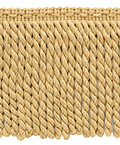 (DÉCOPRO 6 Inch Long Shell, Camel Beige, Oak Brown Bullion Fringe Trim|Style BFDK6 (11881)|Color: Barley - N04|Sold by The Yard)