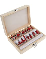 Router Bit Set, 15pcs 1/4inch Shank Tungsten Carbide Rotary Tool Kit with Wood Case Box