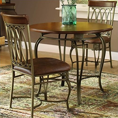 (Hillsdale Montello Dining-Chairs, Set of 2 with Brown Faux Leather, Old Steel Finish)
