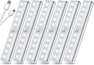LED Motion Sensor Closet Lights USB Rechargeable Under Cabinet Lighting Wireless LED Portable Light 10 LED Night Lights with Magnetic Strip for Stairs,Wardrobe,Kitchen,Hallway - White 6 Pack