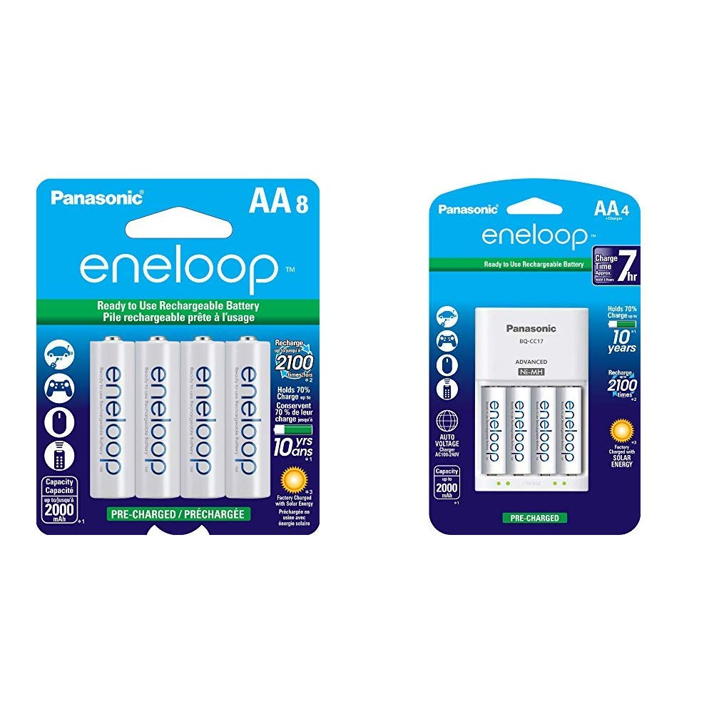 Panasonic BK-3MCCA8BA eneloop AA 2100 Cycle Ni-MH Pre-Charged Rechargeable Batteries, 8 Pack & Advanced Individual Cell Battery Charger Pack with 4 AA eneloop 2100 Cycle Rechargeable Batteries by eneloop