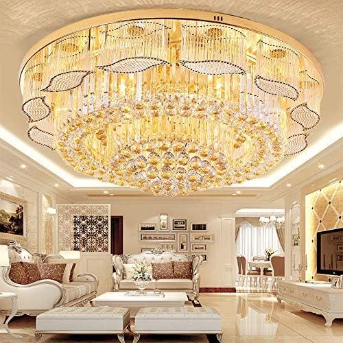 Kankanray Modern K9 Crystal Ceiling Light LED Chandelier Flush Mount Ceiling Lamp Round Pendant Light