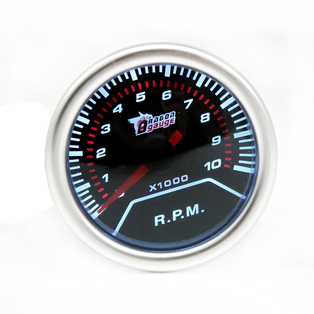 WINOMO 2 Pouces 52mm Num/érique Tachym/ètre Gauge 12 V 4//6//8 Cylindre 0-8000 RPM Fum/ée Lentille De Voiture Tachym/ètre Chrome Bezel