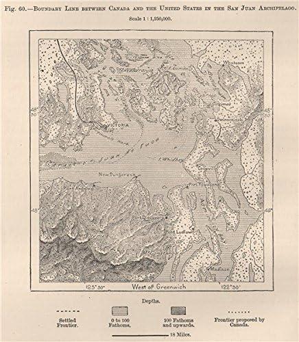 Canada//USA boundary line in the San Juan Archipelago Washington 1885 old map
