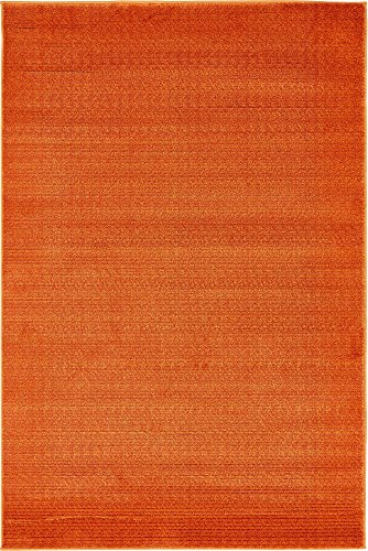 Modern Solid Carved 4 feet by 6 feet (4' x 6') Evo Orange Contemporary Area Rug