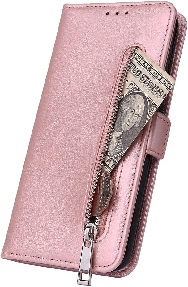WIWJ Kompatibel mit Huawei Mate 10 Lite H/ülle Rei/ßverschluss Leder Wallet Handyh/ülle Klapph/ülle Ultra Slim Flip Case Stand Schutzh/ülle 360 Grad Sto/ßfest Silikon Bumper Tasche-Schwarz