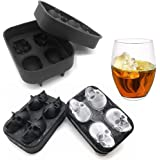 MoldFun 2-Pack 3D Halloween Skull Silicone Mold Tray for Making Ice Cube Jello Jelly Chocolate Candy Gummy Maker Soap Sugar Bath Bomb Clay Candle Plaster Resin