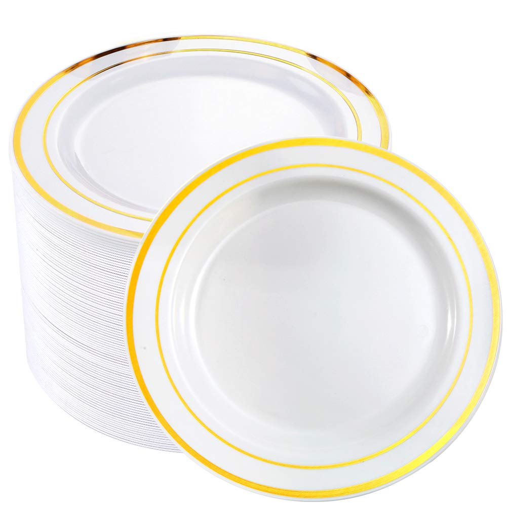 BUCLA 100Pieces Gold Rim Plastic Plates-7.5inch Gold Disposable Salad/Dessert Plates-Ideal for Weddings& Parties by BUCLA