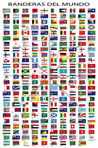 Bandiere Del Mondo Nomi Di Paesi E Capitali In Spagnolo Poster