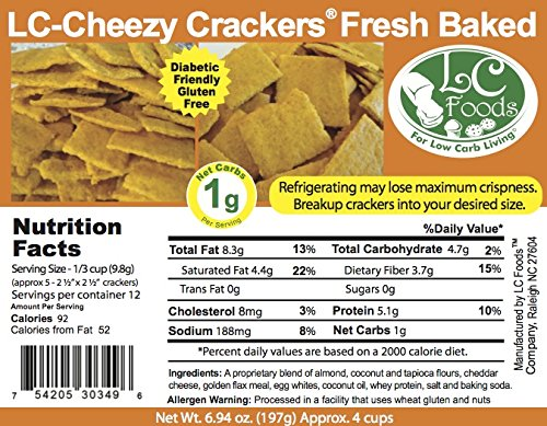 Low Carb Cheese Crackers - Fresh Baked - LC Foods - All Natural - Gluten Free - No Sugar - High Protein - Diabetic Friendly - Low Carb Crackers - 6.94 oz