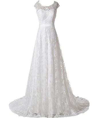 Zorabridal Women S Elegant Cap Sleeve A Line Vintage Lace Wedding