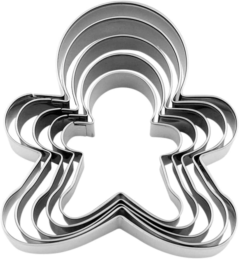 Christmas Holiday Gingerbread Cookie Cutter Set Stainless Steel Gingerbread Shaped Cookie Candy Food Molds, 5 Counting by Shxstore