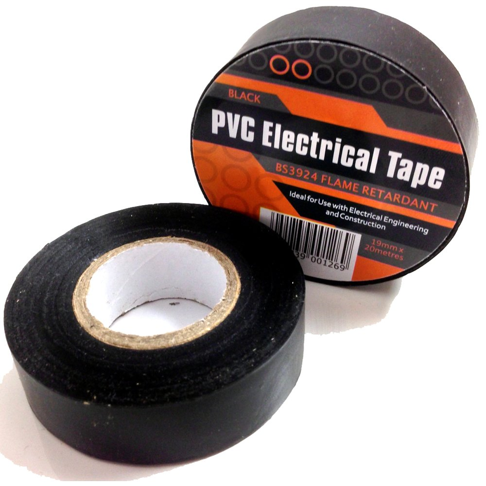 1 x BLACK ELECTRICAL PVC INSULATION / INSULATING TAPE 19mm x 20m - FLAME RETARDANT Falcon workshops