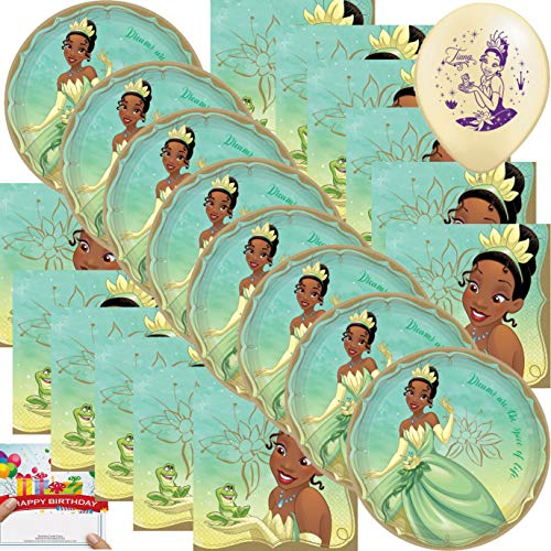 Princess Party Supplies Birthday Tiana Dinner Plates and Napkins Bundle