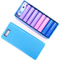 BEESCLOVER 5V 2A DIY Dual USB Power Bank Shell Box Portable 8x18650 External Battery Power Bank Case with LCD Display (No Battery) Blue