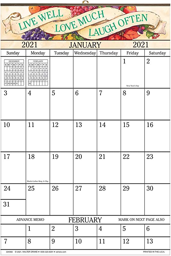 Amazon.: Large 1 Year Vertical Wall Calendar Ideal for Dorm