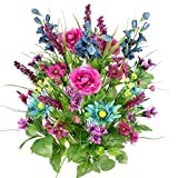 Admired By Nature Artificial Dahlia, Morning Glory and Ranunculus and Blossom Fillers Mixed Bush - 30 Stems for Home, Wedding, Restaurant and Office Decoration Arrangement, Turquoise/Lilac/Celery