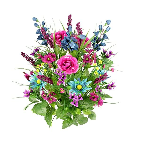 Artificial Dahlia, Morning Glory and Ranunculus and Blossom Fillers Mixed Bush – 30 Stems for Home, Wedding, Restaurant and Office Decoration Arrangement, Turquoise/Lilac/Celery