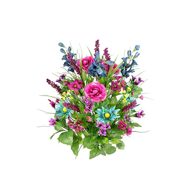 silk flower arrangements artificial dahlia, morning glory and ranunculus and blossom fillers mixed bush - 30 stems for home, wedding, restaurant and office decoration arrangement, turquoise/lilac/celery