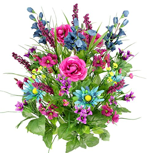 - Artificial Dahlia, Morning Glory and Ranunculus and Blossom Fillers Mixed Bush - 30 Stems for Home, Wedding, Restaurant and Office Decoration Arrangement, Turquoise/Lilac/Celery