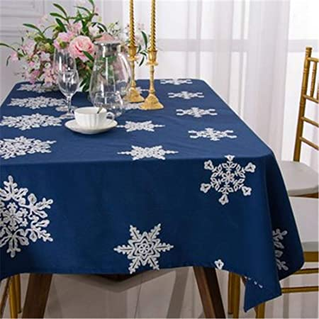 LUOTINGRUI Mantel de Navidad Nuevo Mantel Bordado de algodón de Lino Mantel de Mesa de Color sólido Mantel: Amazon.es: Hogar