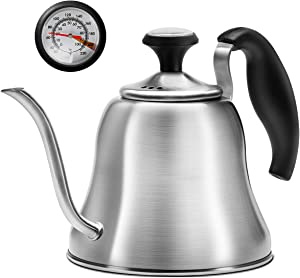 Chefbar Tea Kettles Stovetop with Thermometer Gooseneck Kettle Pour Over Drip Coffee Kettle for Stove Top, Home, Camping and Restaurant, Brushed Stainless Steel, 40 oz (1.2L)