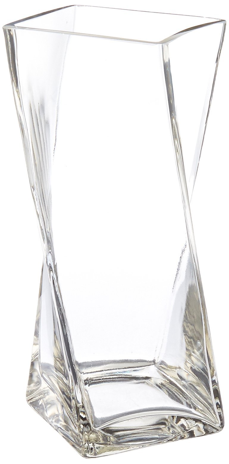 WGV Clear Square Twist Block Glass Vase, 10-Inch by WGV International