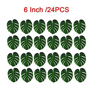 24 Pieces Tropical Leaves Artificial Silk Fabric Monstera Decoration Simulation Imitation Leaf for Hawaiian Luau Party Jungle Theme BBQ Birthday Wedding Table Decorations Supplies 3 Sizes (6inch) 118