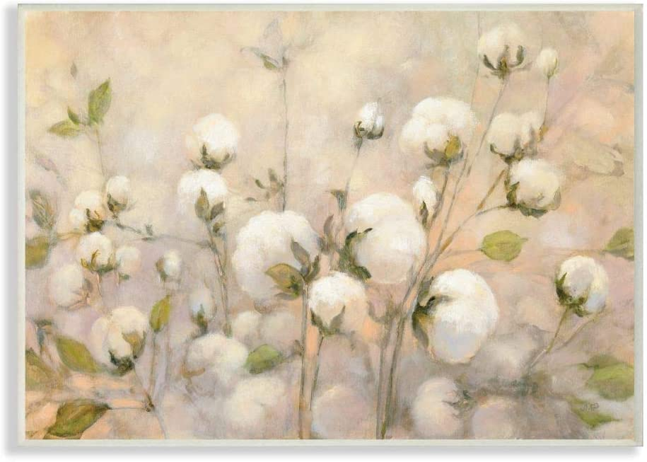 Stupell Industries Abstract Cotton Field Floral Country Beige Green Painting, Designed by Julia Purinton Art, 13 x 19, Wall Plaque