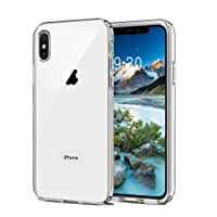 Meidom iPhone Xs Max Case,Full Protective Glass Cover Case with Air Cushion Technology and Anti-Fall for iPhone Xs Max - Glass Clear