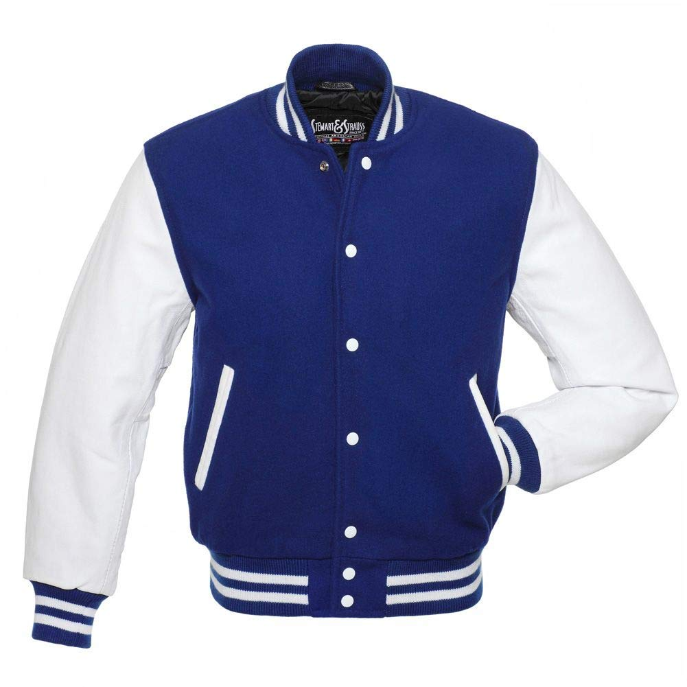 C102-S Varsity Letterman Jacket Royal Blue Wool & White Leather by Stewart & Strauss