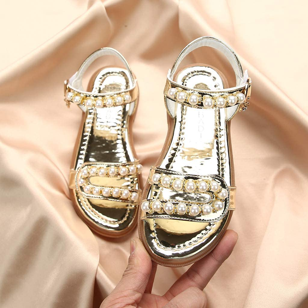 Toddler Kids Girls Summer Pearl Sandals for 1-11 Years Old Children Fashion Solid Open-Toe Beach Shoes