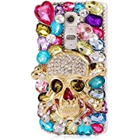ZTE Grand X MAX 2 Case, ZTE Zmax Pro Case, STENES 3D Handmade Luxury Crystal Skull Heart Rhinestone Sparkle Rhinestone Design Cover Bling Case with Retro Bows Dust Plug - Colorful