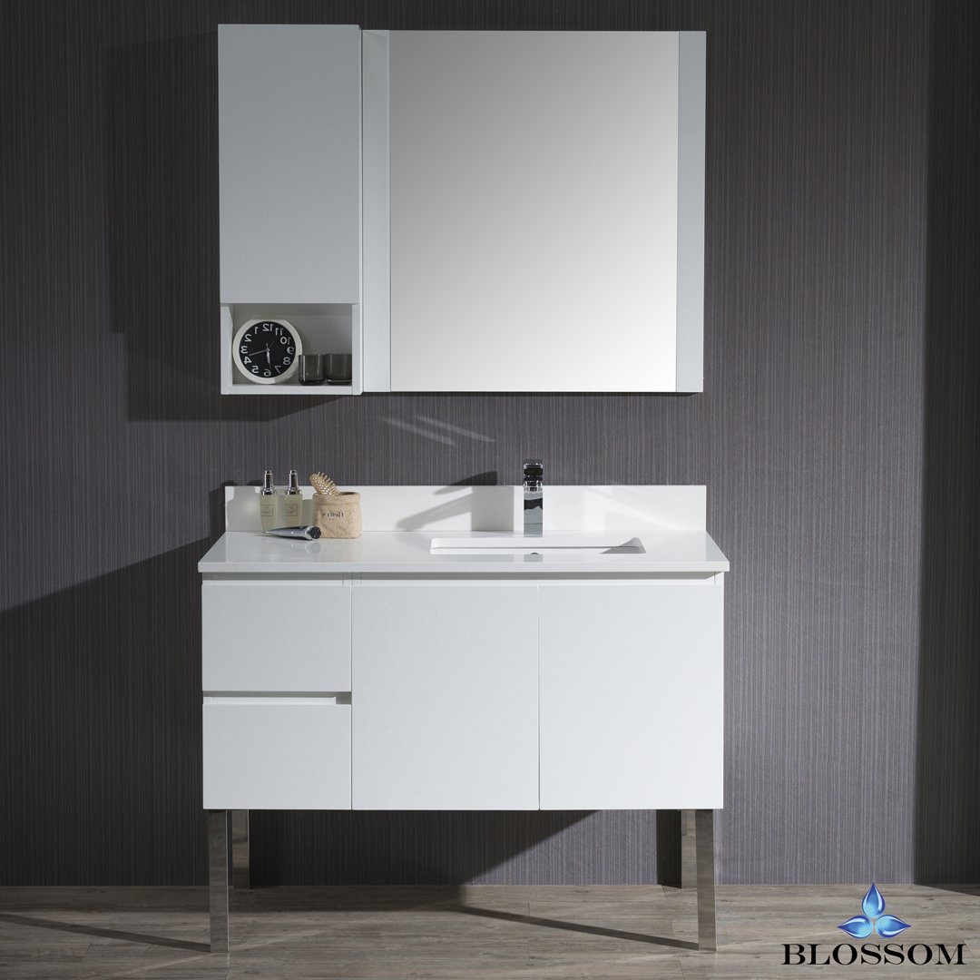 BLOSSOM 000-42-01-R-L9-M Monaco 42'' Right Vanity Set with Mirror and Chrome Legs Matte White