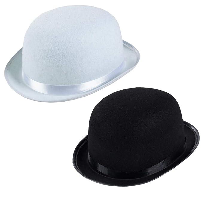 excepcional gama de estilos diseño de variedad nueva apariencia Funny Party Hats Derby Hats - 2 Pack - Black and White Bombin Hats - Bowler  Hats - Roaring 20s Hats