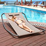 Lazy Daze Hammocks Patio Garden Outdoor Rocking Lounger Hammock Swing Bed with Pillow (Gray)