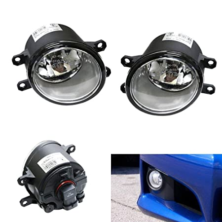 iJDMTOY Pair of Clear Lens Halogen Fog Lamps For Lexus IS GS ES CT LX RX Toyota Camry Highlander Corolla Prius Scion xA, etc, Driver Passenger Side Assembly w/ (2) 55W H11 Halogen Bulbs