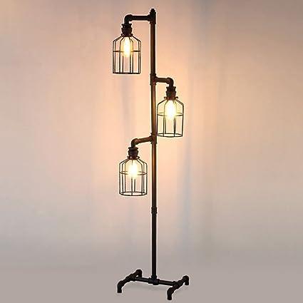 Lámpara de pie Industrial Retro Sala Hierro Forjado Creativa ...
