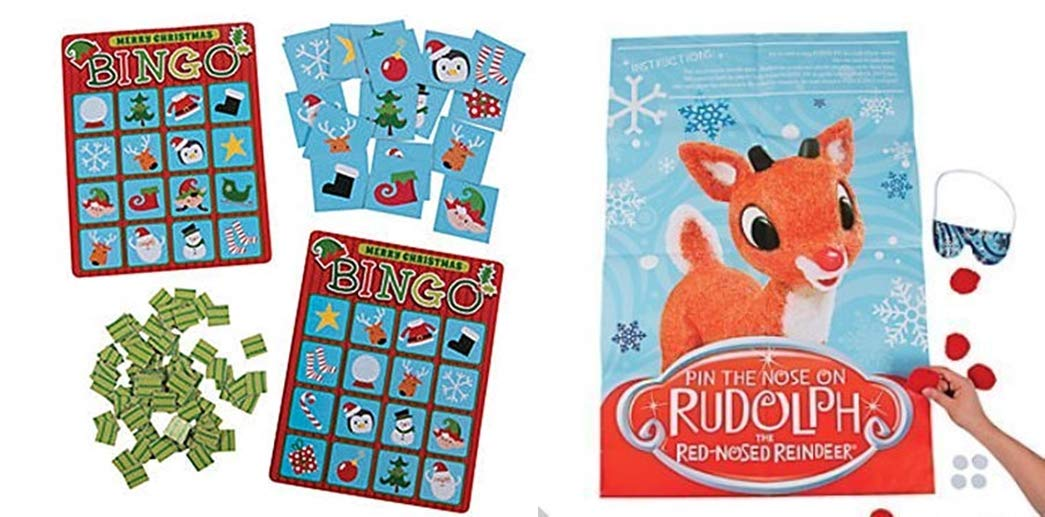 School Daycare Kids Childrens Activity Christmas Bingo HAPPY DEALS ~ 2 Christmas Holiday Party Games Classroom PIN The Nose on Rudolph Game