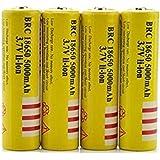 4本 18650充電池5000mAhチウム充電池に対応 戦術懐中電灯/ヘッドランプ用電池 透明ケース付き 釣り用バッテリー,5000 mAhA18650充電式電池3.7 V