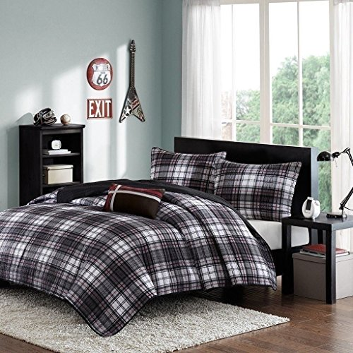 Moon Daughter Bed Black White Red Classic Plaid Twin XL Full 4 pc Comforter Set Bedding by Moon_Daughter