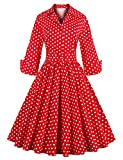 tea party dress Classy Floral Longsleeve Party RED L