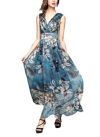 sekitoba-japan.inc Sleeveless Flower Print Summer Beach Dress v Neck for Women (