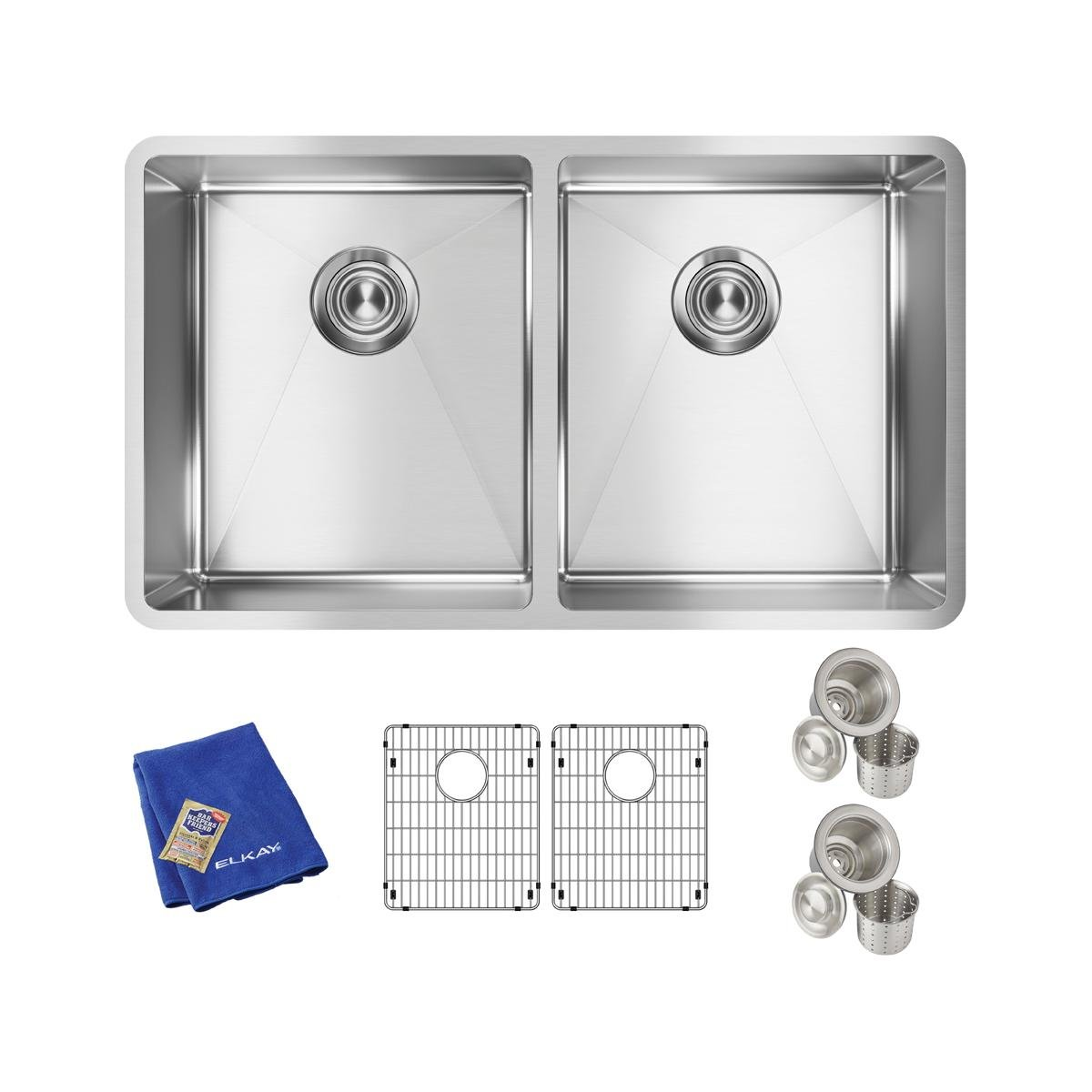 Elkay Crosstown Stainless Steel 31-1/2'' x 18-1/2'' x 9'', Equal Double Bowl Undermount Sink Kit by Elkay