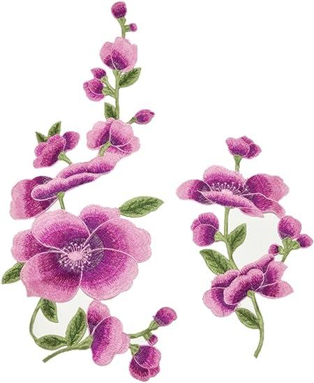Da.Wa - Parche bordado de flores de loto para coser o planchar, para ropa, ropa, parches de tela, para manualidades, color morado: Amazon.es: Hogar