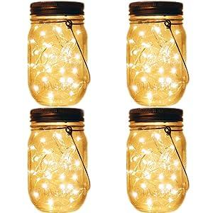 4 Pack Mason Jar Tiki Solar Lights,LED Fairy Firefly Jar Lights for Patio Garden Yard Mason Jar Wedding Table Decorations Solar Lantern Lights (Jar and Handles Included)