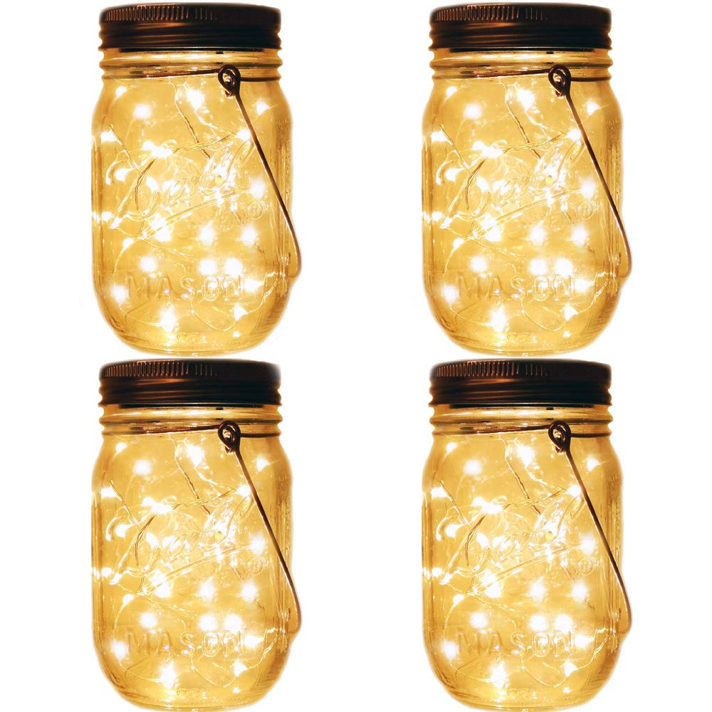 Mason Jar Tiki Solar Lanterns Lights,4 Pack 20 Leds Starry Star Fairy Firefly Jar Lights,for Outdoor Patio Garden Yard Mason Jar Wedding Table Decor Solar Lantern Lights(Mason Jars/Hangers Included)