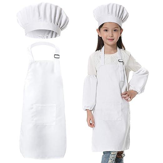 JLySHOP - Delantal de Chef para niños, para cocinar, cocinar, Hornear, para Entrenar, Pintar, para niños y niñas (6-12 años)
